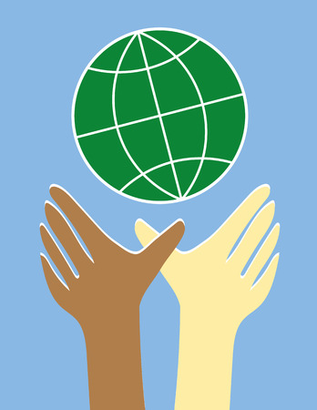 asian and indian ethnicities: Two hands and arms in brown and white reaching upwards to a stylized globe of the world as a symbol for equality and diversity Illustration