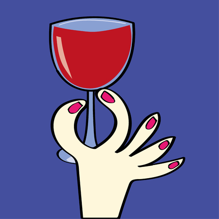 intake: Stylized hand of a woman with pink nail varnish holding a glass full of red wine Illustration