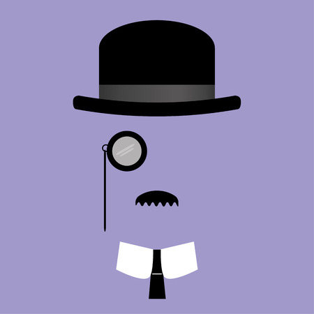facial features: illustration of facial features comprising of bowler hat,monocle,moustache with collar and tie Illustration