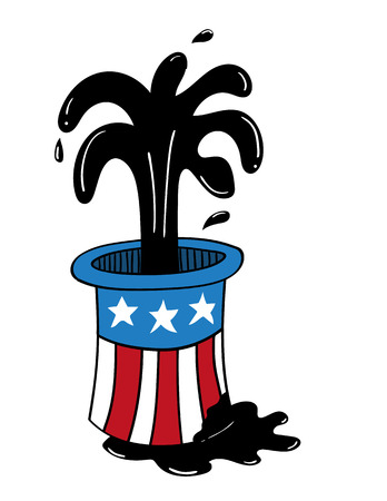 spillage: Top hat decorated with elements of the USA flag from which oil is gushing and also pouring out onto the ground