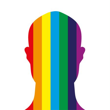 Face on profile shape of a human head filled with the colours of the rainbow on a white background