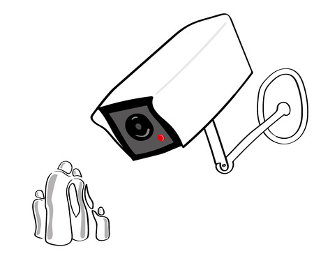 oppression: A giant CCTV or surveillance camera looks down on a stylized group of people representing a typical family Illustration