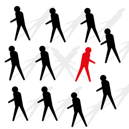 black shadows: Black stick figures with shadows marching in the same direction with one red figure or person who is off in the opposite direction