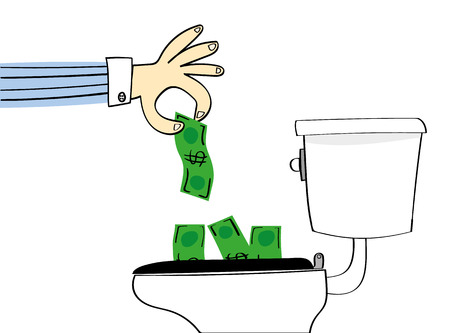 flushed: Concept for losing or wasting money with a hand dropping dollar bills down a conventional toilet to be flushed away Illustration