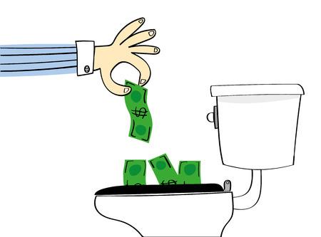 Praca za utratę lub marnowanie pieniędzy z ręki spada dolary dół konwencjonalnego WC być spłukany