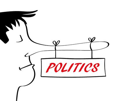 Hombre con una nariz muy larga asociada a decir mentiras de la cual hay un cartel que cuelga con la palabra política añadidos en texto rojo