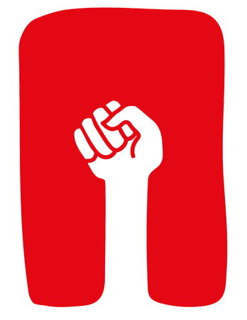 clenched fist: Stylized clenched fist raised in a power salute or protest gesture in white on a red background