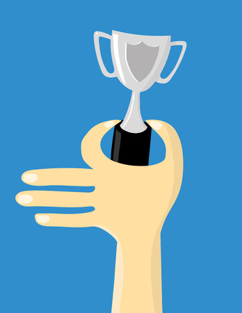 hand holding: Stylized male or female hand holding up a small silver trophy cup for the winner