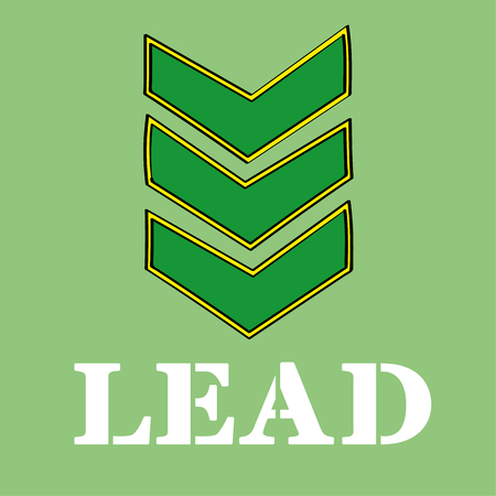 sergeant: Three military stripes or chevrons denoting rank above the word LEAD in stencil type letters