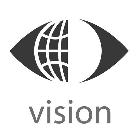 looking ahead: Business with a global or world symbol within an eye above the word Vision Illustration