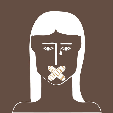 girl mouth: Woman or girl who is unable to voice her opinion because of sticking plaster across her mouth as a metaphor for equality and feminism Illustration
