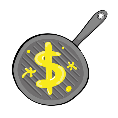 overheating: Dollar sign made of butter melting in a griddle saucepan as a metaphor for the USA economy experiencing problems