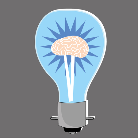 metaphors: Light bulb with a human brain at the center as a metaphor for bright ideas and innovation