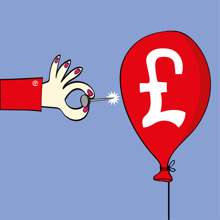 british pound: Female hand holding a sharp pin ready to burst a red balloon on which there is a British pound symbol as a metaphor for the exchange rate or stock market