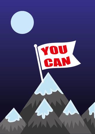 tu puedes: La bandera en la cima de la montaña con las palabras que usted puede como una metáfora para el logro de sus ambiciones y planes