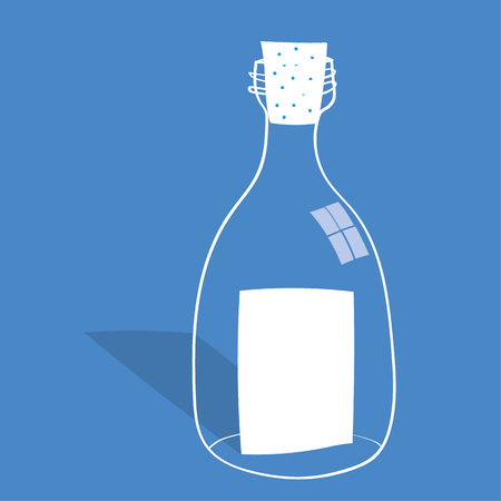 corked: Message in a Bottle concept with a clear glass bottle and a sheet of blank white paper inside with copy space for text as a note