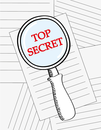 spying: Vector illustration of a magnifying glass looking at the words Top Secret in red text on a pile of documents