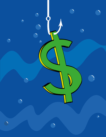 sinking: Dollar sign underwater is hanging from a fishing hook as bait or has just been caught