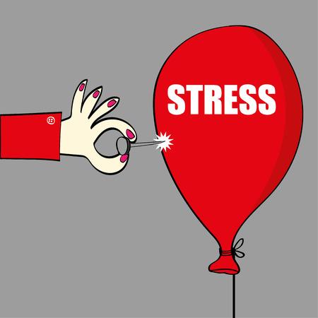 El alivio de la tensión con el concepto de una mano que sostiene un contacto sostenido o una aguja a punto de reventar un globo rojo con la palabra estrés en ella en el texto blanco