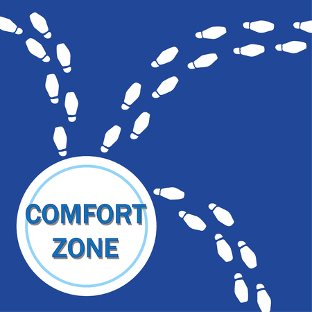 heading: Changing your life concept with footsteps heading in different directions from an area called the Comfort Zone