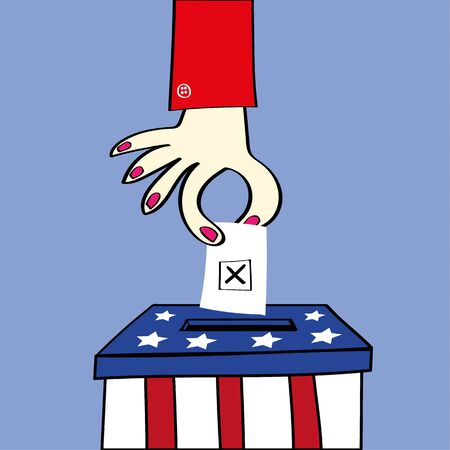lady in red: Ballot or voting box in the stars and stripes of the USA flag with a woman hand placing her ballot paper to vote in the election Illustration