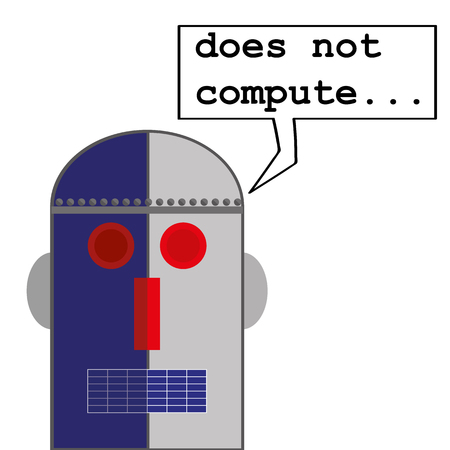 talking robot: Robot head in a retro style with a speech bubble that says Does Not Compute as a metaphor for computer malfunctions or problems Illustration
