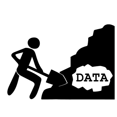 computation: Stick figure of a man with a large shovel digging through a pile of material containing the word DATA as a metaphor for the process of data mining for information
