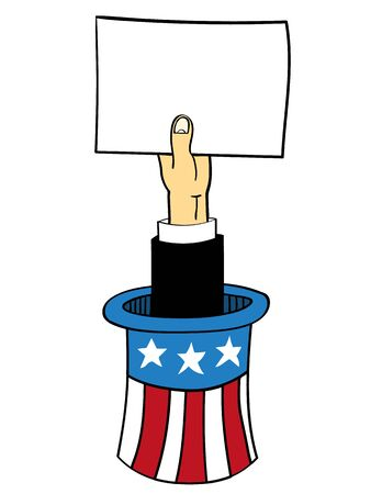 Uncle Sam top hat with colors of the USA flag from which an arm is sticking out and holding up a blank white sheet of paper for your text Illustration