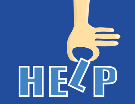 inserting: Help concept with a stylized hand inserting one of the letters to complete the word