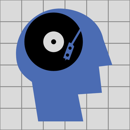 vinyl record: Stylized human head in profile with a vinyl record and needle playing arm in the brain area