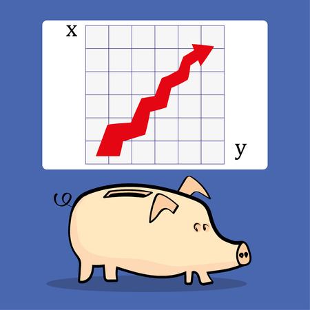 underneath: A traditional piggy bank underneath a presentation slide with a chart that shows an upward arrow for improvement in business, with copy space for text