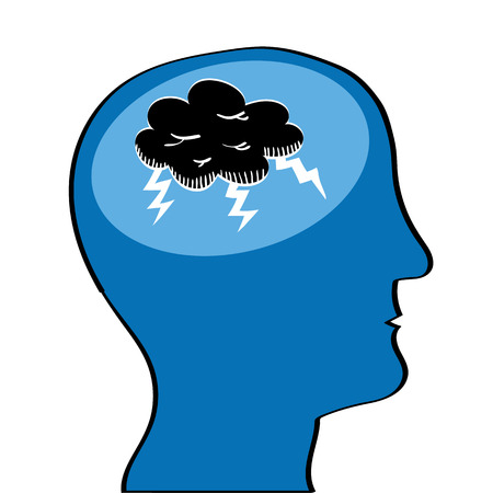 lightening: Human head in profile with a black storm cloud and lightening in the brain area as a metaphor for mental health issues