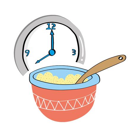 아침에 아침 식사 시간에 벽 시계 앞에 죽 귀리의 그릇