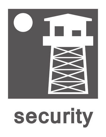 on the lookout: Vector of a watchtower and a full moon on a white background with the word security in grey text underneath