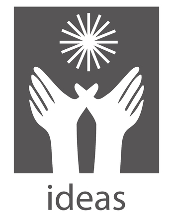 creativity concept: A pair of hands reaching towards a radiant sun symbol above the word ideas as a concept for nurturing creativity and the imagination Illustration