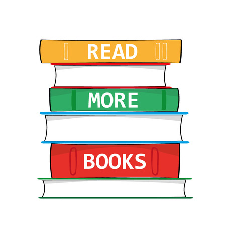 text books: A stack of hardback books with the phrase Read More Books added in white text on the spines as a metaphor for education and gaining knowledge