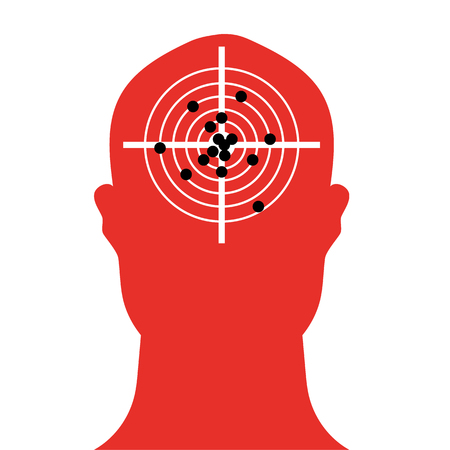 full of holes: Human head shape in silhouette with a shooting target in the brain area which is full of bullet holes