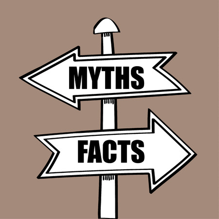 discovering: Direction arrows on a sign post pointing in different directions to the words Myths one way and Facts the other, as a metaphor for discovering the real situation