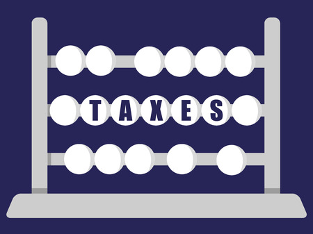 self employed: Stylized abacus with the word Taxes in blue text on the middle row of beads