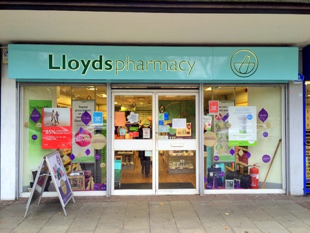 Bracknell,England - November 01,  2016: Front view of a Lloyds Pharmacy store in Bracknell, England. Lloyds have over 1,500 pharmacies across the United Kingdom