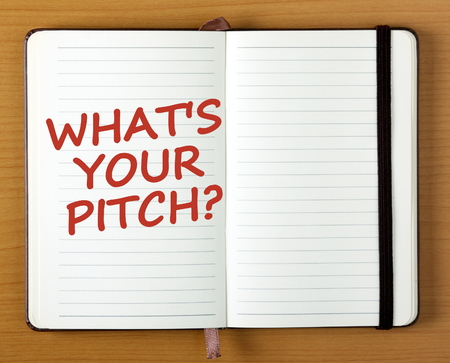 The words Whats Your Pitch in red text on the page of an open notebook as a reminder to prepare your business idea or product for market