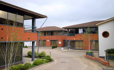Bracknell, England - April 17, 2017: Business units and offices in use or available to let on an industrial estate in Bracknell, England