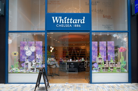 Bracknell, England - April 12, 2018: Exterior of Whittard of Chelsea with a member of staff visible inside the store in Bracknell, England. Whittard started selling tea and coffee in London in 1886