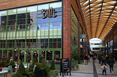 Bracknell, England - February 09, 2019: The exterior of Bills Cafe in the town center of Bracknell, England. Bills is a British cafe chain founded by Bill Collison in 2000 Editorial