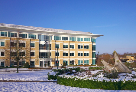 Bracknell, England - February, 2019: The exterior of the GE office building in Bracknell, England. GE has had business operations in the United Kingdom since the 1930s
