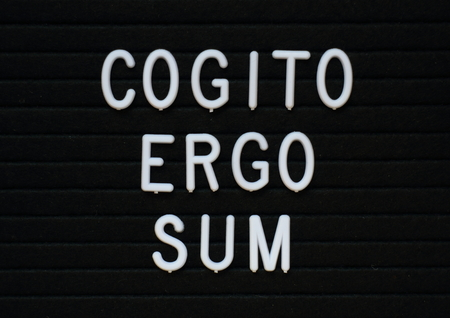 The words Cogito Ergo Sum or I think Therefore I Am in white letters on a notice board Stock Photo
