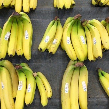 Bracknell, England - February 20, 2019: Ripe yellow bananas displayed in bunches on a market stall in England Editorial
