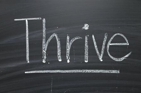The word Thrive written by hand in white chalk on a blackboard as a reminder