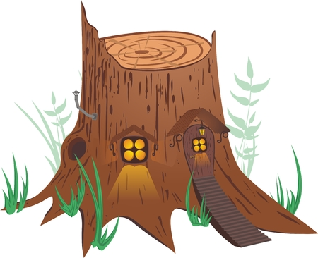 stumps: Little fairy-tale house. Illustration