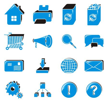 Collection of web icons; blue. Vector